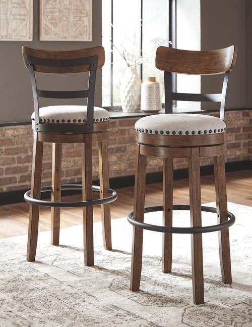 Valebeck Brown Tall Upholstered Swivel Barstool(1/CN) img
