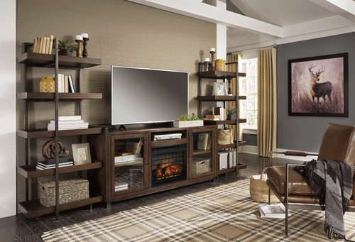 Starmore Brown Entertainment Center XL TV Stand & 2 Piers with Fireplace Insert Infrared img