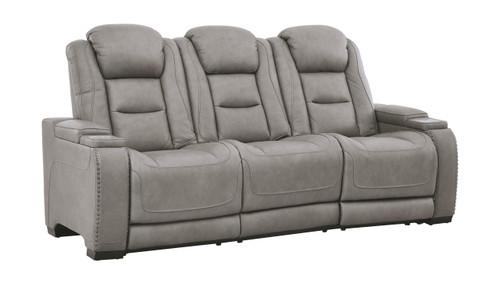 The Man-Den Gray Power Reclining Sofa with ADJ Headrest img