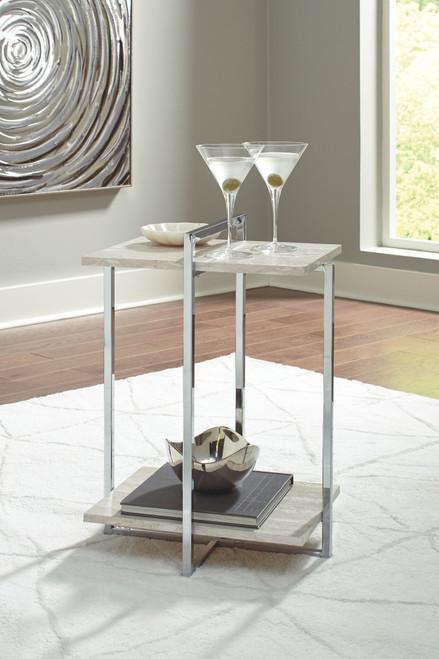 Bodalli Ivory/Chrome Chair Side End Table