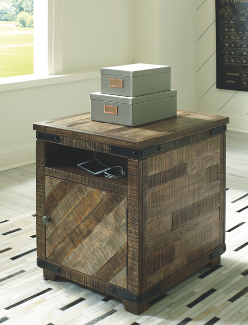Cordayne Rustic Brown Chair Side End Table