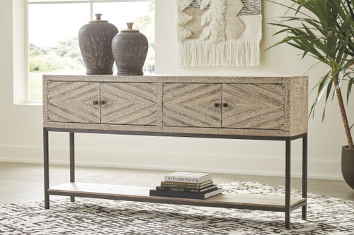 Roanley Distressed White Console Sofa Table img