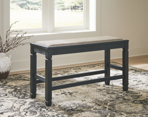Tyler Creek Antique Black Double Counter Upholstered Bench (1/CN) img
