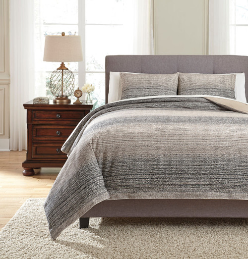 Arturo Natural with Charcoal King Duvet Cover Set