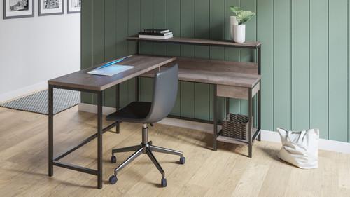 Dorrinson Two-tone L-Desk with Storage & Swivel Desk Chair img