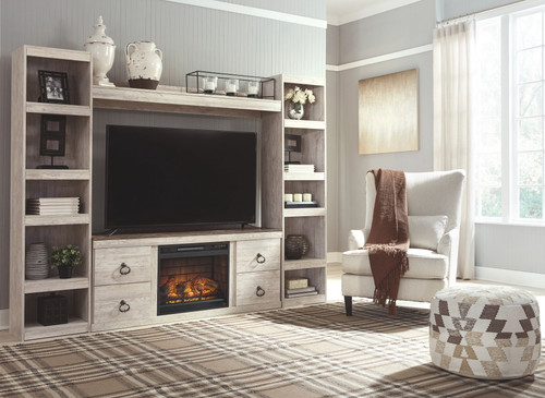 Willowton Whitewash Entertainment Center LG TV Stand, 2 Piers, Bridge with Fireplace Insert Infrared img