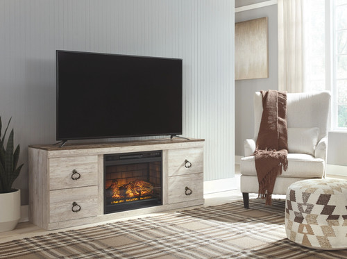 Willowton Whitewash Entertainment Center LG TV Stand with Fireplace Insert Infrared img