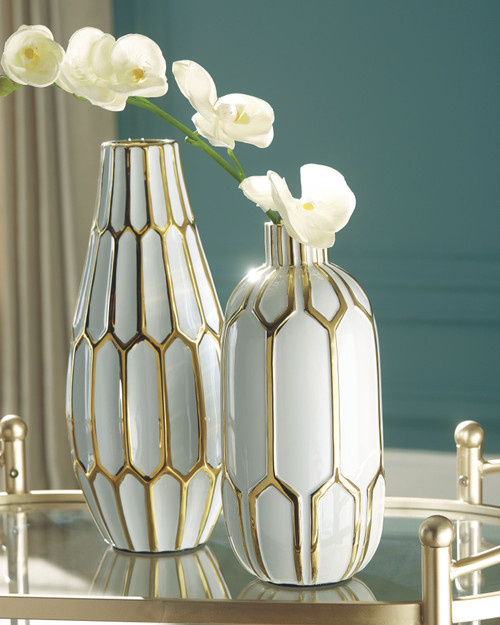 Mohsen Gold Finish/White Vase Set (2/CN) img