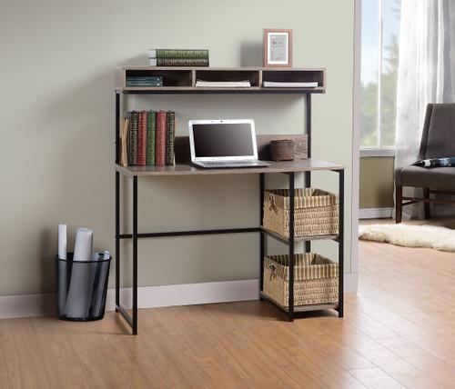 Daylicrew Grayish Brown/Gunmetal Home Office Desk and Hutch img