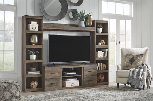 Trinell Brown Entertainment Center LG TV Stand, 2 Piers & Bridge img