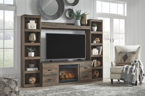 Trinell Brown Entertainment Center LG TV Stand, 2 Piers, Bridge with Fireplace Insert Infrared img