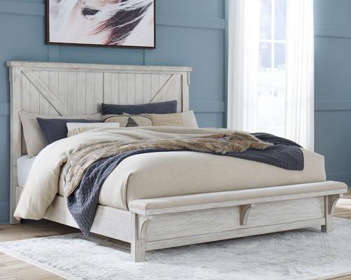 Brashland White 3 Pc. California King Panel Bed img