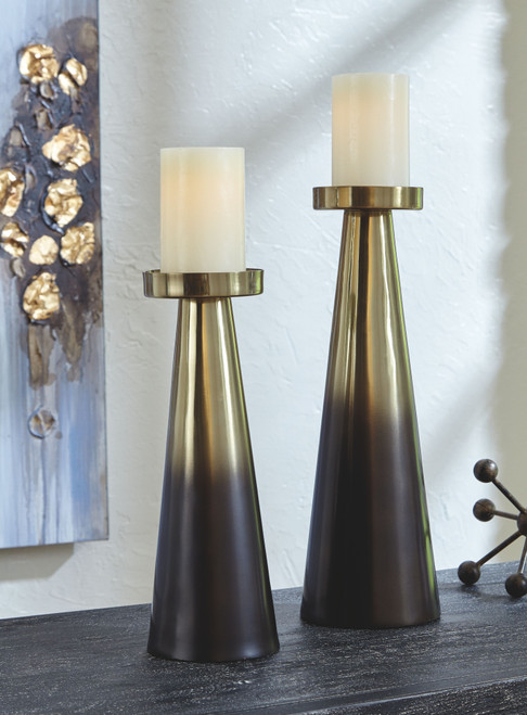 Theseus Gold Finish/Brown Candle Holder Set (2/CN) img
