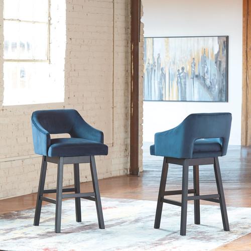 Tallenger Blue/Dark Brown Tall Upholstered Swivel Barstool(Set of 2) img