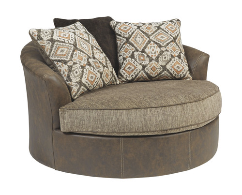 Abalone Chocolate Oversized Swivel Accent Chair img