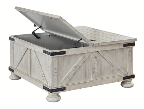 Carynhurst Whitewash Cocktail Table with Storage img