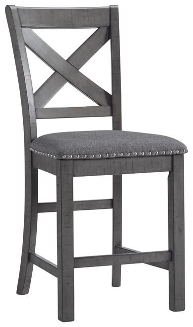 Myshanna Two-tone Gray Upholstered Barstool (Set of 2) img