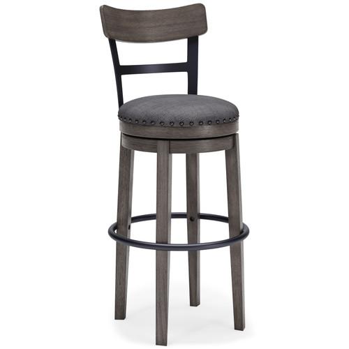 Caitbrook Gray Tall Upholstered Swivel Barstool(1/CN) img