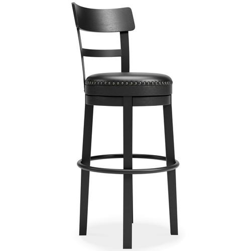 Valebeck Black Tall Upholstered Swivel Barstool(1/CN) img