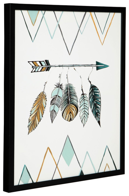 Adaley Teal/White/Gray Wall Art img