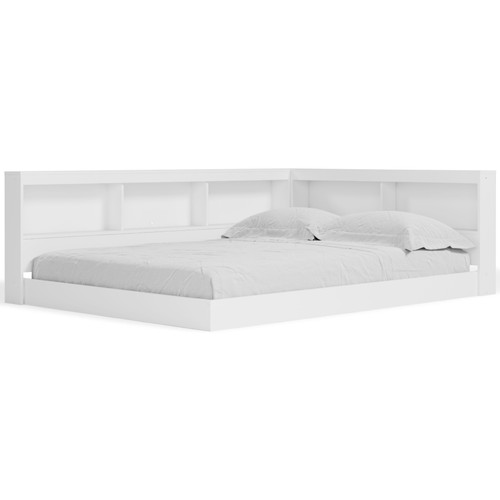 Piperton White Full Bookcase Storage Bed img