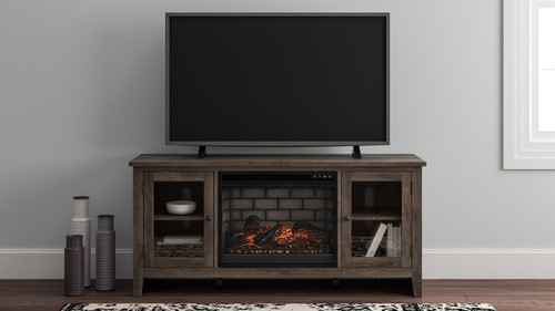 Arlenbry Gray LG TV Stand with Faux Firebrick Fireplace Insert img