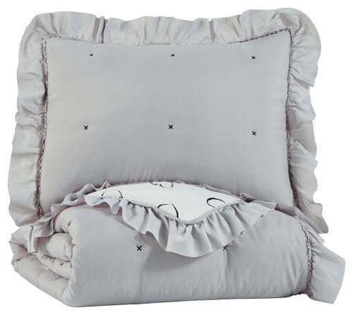Hartlen Gray/White Twin Comforter Set img
