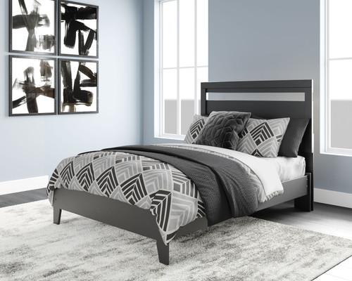 Finch Black/Brown Full Panel Platform Bed img
