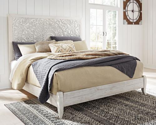 Paxberry Whitewash King Panel Bed img