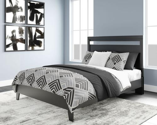 Finch Black/Brown Queen Panel Platform Bed img