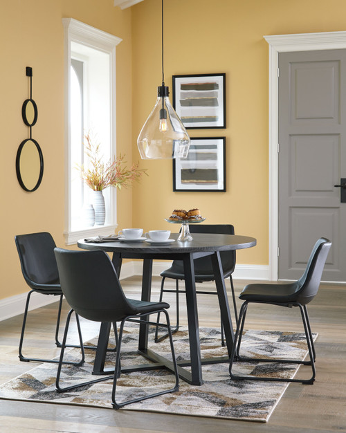 Centiar Gray/Black 5 Pc. Round Dining Room Table, 4 Upholstered Side Chairs img