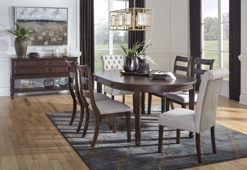 Adinton Reddish Brown 8 Pc. Oval Dining Room Extension Table, 4 Side Chairs, 2 Upholstered Side Chairs, Server img