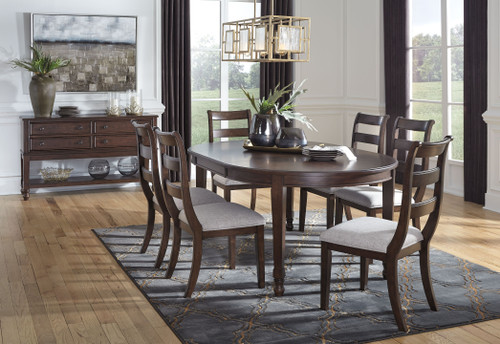 Adinton Reddish Brown 8 Pc. Oval Dining Room Extension Table, 6 Side Chairs, Server img