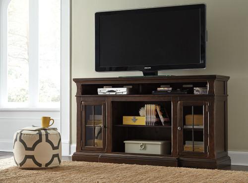 Roddinton Dark Brown XL TV Stand with Fireplace Option img