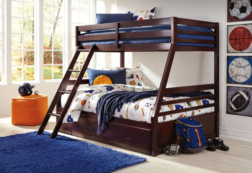 Halanton Dark Brown Twin/Full Bunk Bed with Ladder, Bunk Bed Rails with Under Bed Storage img