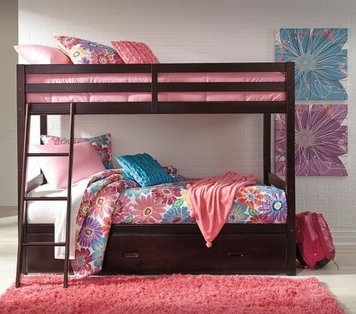Halanton Dark Brown Twin/Twin Bunk Bed with Under Bed Storage img