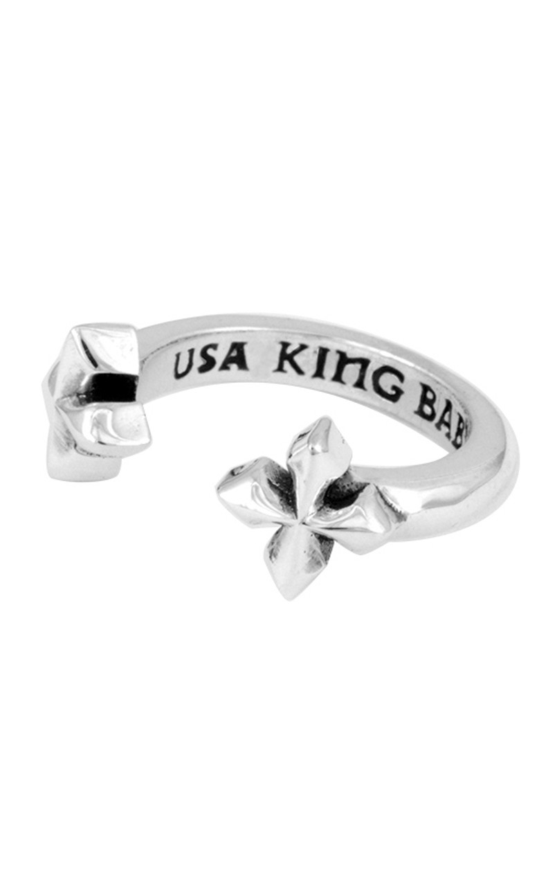 9d8f8c41e2966 King Baby Open Ring with MB Crosses Silver K20-5967