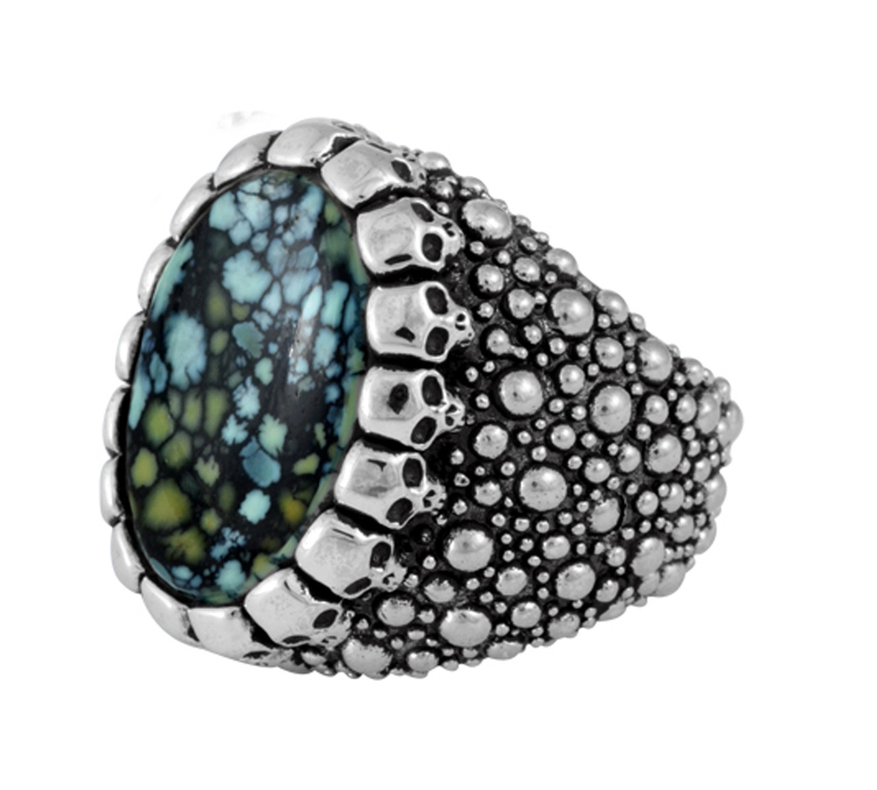 f803301e2e9a6 King Baby Sting Ray Texture Ring w/Top Hat Spotted Turquoise Cabochon Skulls