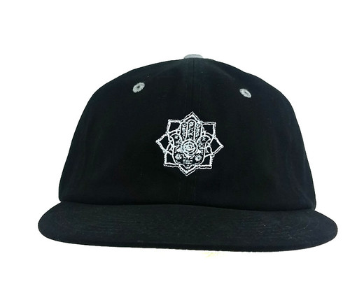 In4mation Embroidered Hamsa Hand Unstructures Hat Flat Brim Cap Black IN4M-534