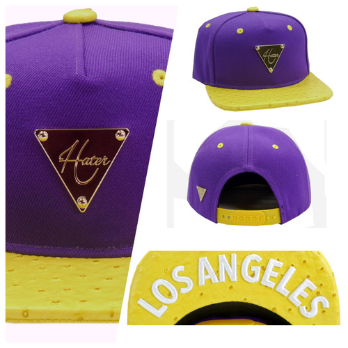 HATer Snapback Los Angeles Purple Yellow Ostrich Gold Lakers Cap