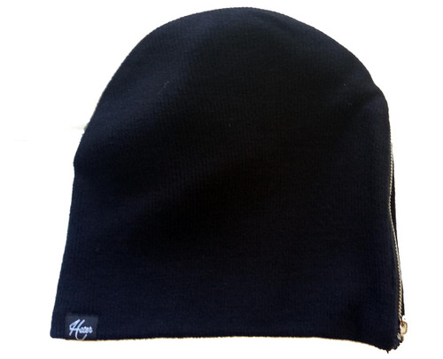 HATer Snapback Zippered Beanie Black Cap Hat - HAS Style 30a2a172ce11