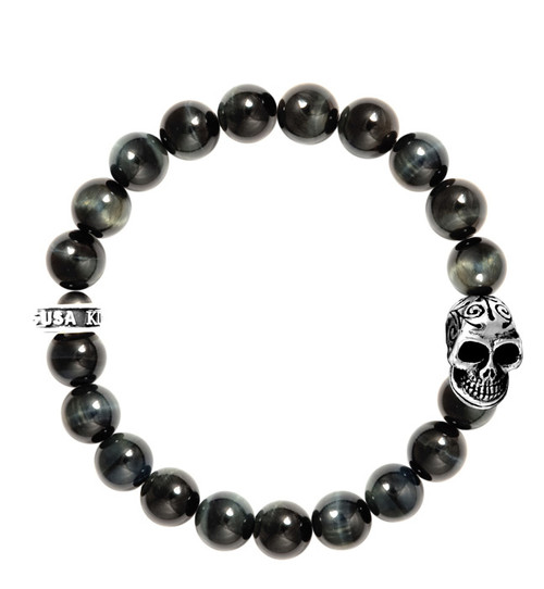 King Baby 10mm Blue Tiger Eye Bracelet w/Day of the Dead Skull K40-5276