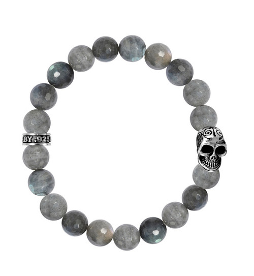 King Baby Labradorite Bead Bracelet w/Day of the Dead Skull K40-5284