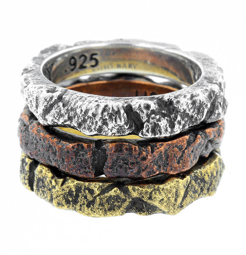 King Baby Temple Ruin Multi Colored Tri Stack Rings K20-6024