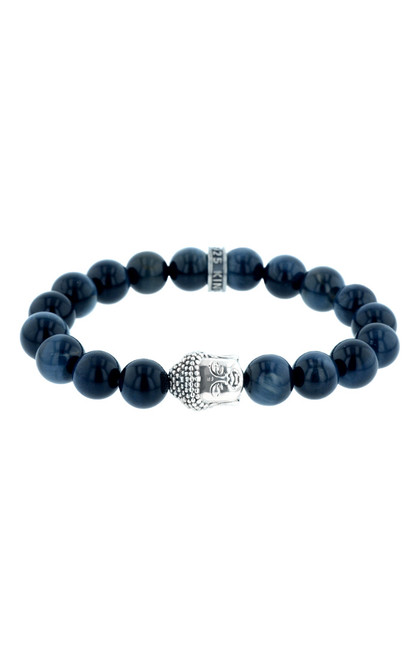 King Baby Meditating Buddha Blue Tiger Eye Bead Bracelet K40-5876B