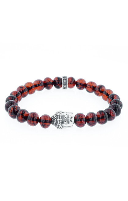 King Baby Meditating Buddha Amber Bead Bracelet K40-5876A