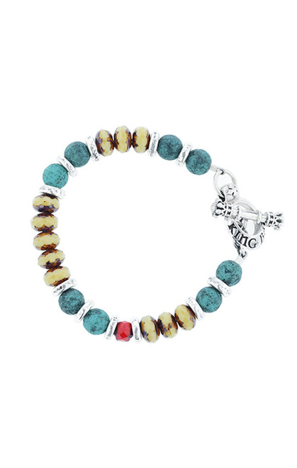 King Baby Studio Ceramic and Czech Glass Bead Bracelet K40-5893