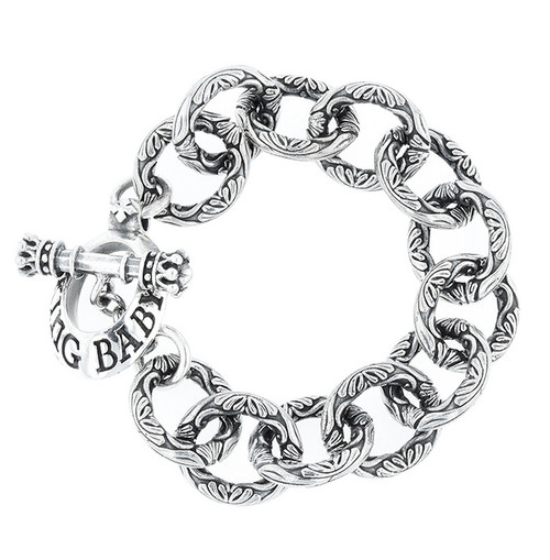 King Baby Studio Silver Engraved Single Link Bracelet K40-5918