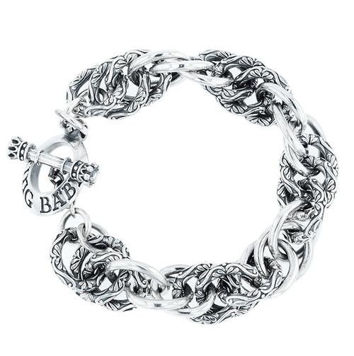 King Baby Studio Silver Engraved Spiral Link Bracelet K40-5921