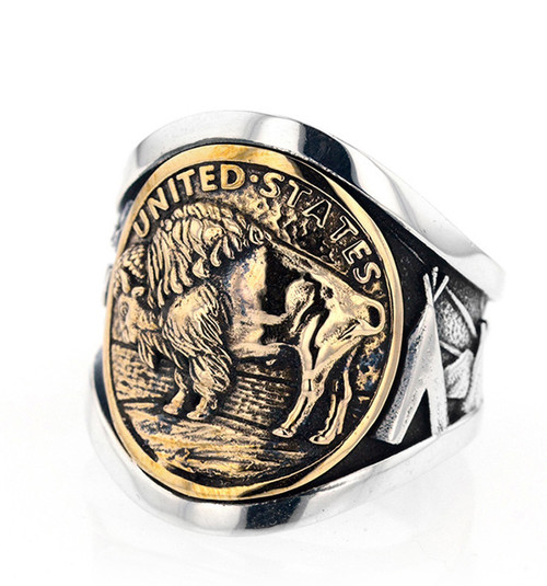 King Baby Studio Buffalo Nickel Cigar Band Ring Silver Alloy Gold  K20-6056